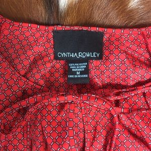 Cynthia Rowley Tops - CYNTHIA ROWLEY • Red Navy Printed Bow Neck Blouse